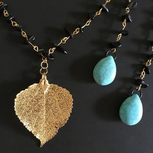 Gold dipped real leaf pendantnecklace/ earrings.